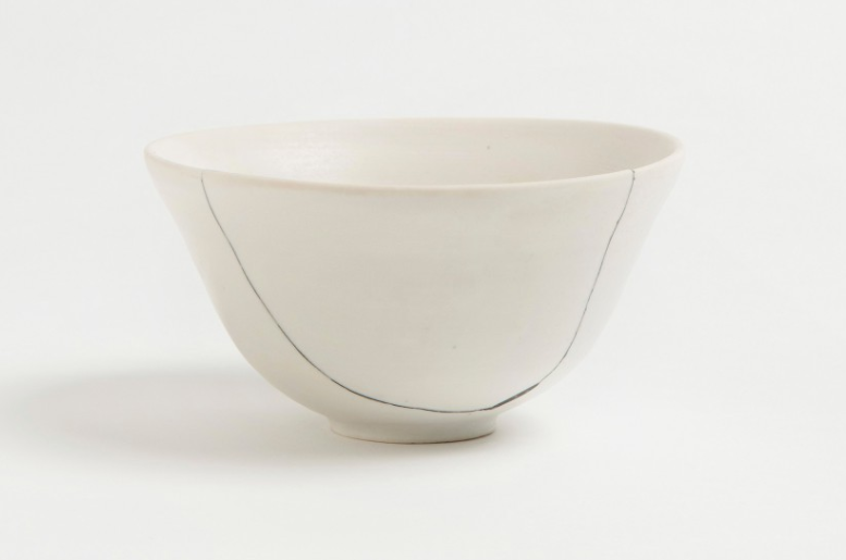 Above: As seen in White Fracture Bowl No. 3, New York–based British ceramist Romy Northover opts for a more updated look, replacing traditional gold seams with black putty; £8 at The Garnered.