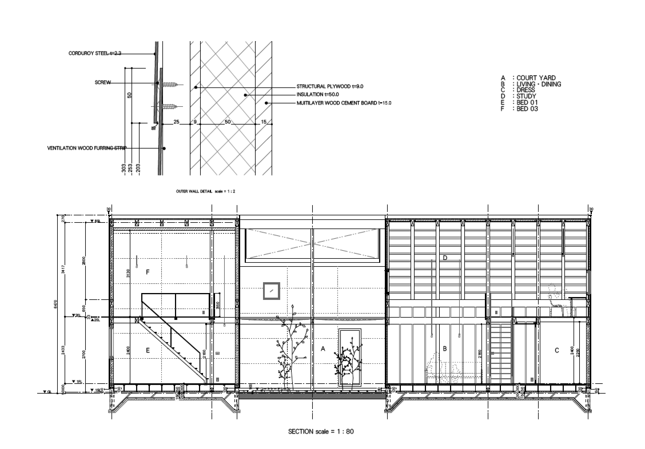 sabi beach house japan schematic drawing no.555 architects 18 24