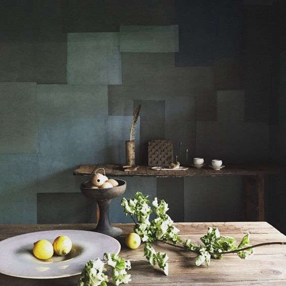 green patchwork patterned walls at stardust, kana shimizu's boutique and cafe i 10