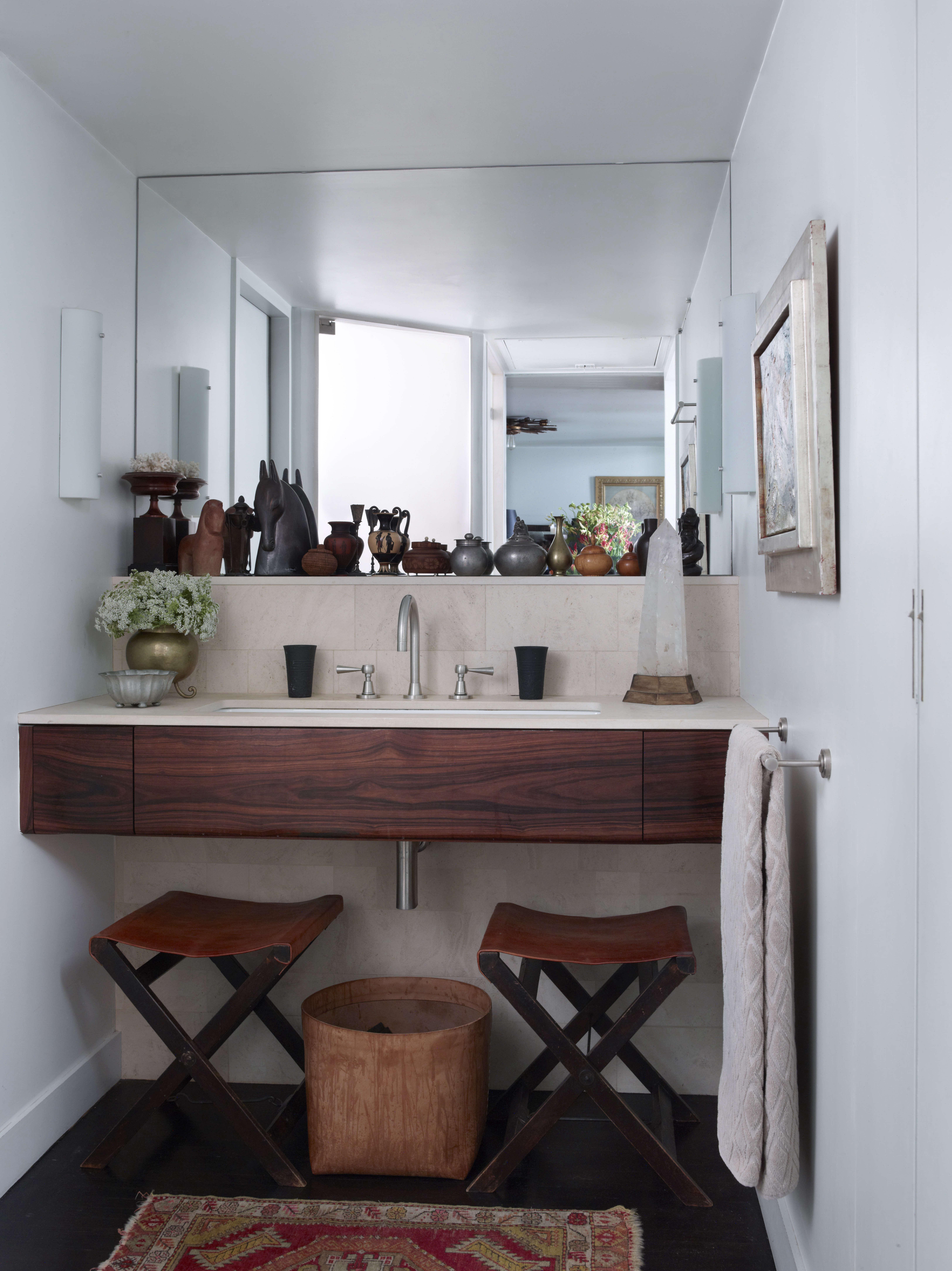 bathroom wood vanity sculpture mirror leather stools 19
