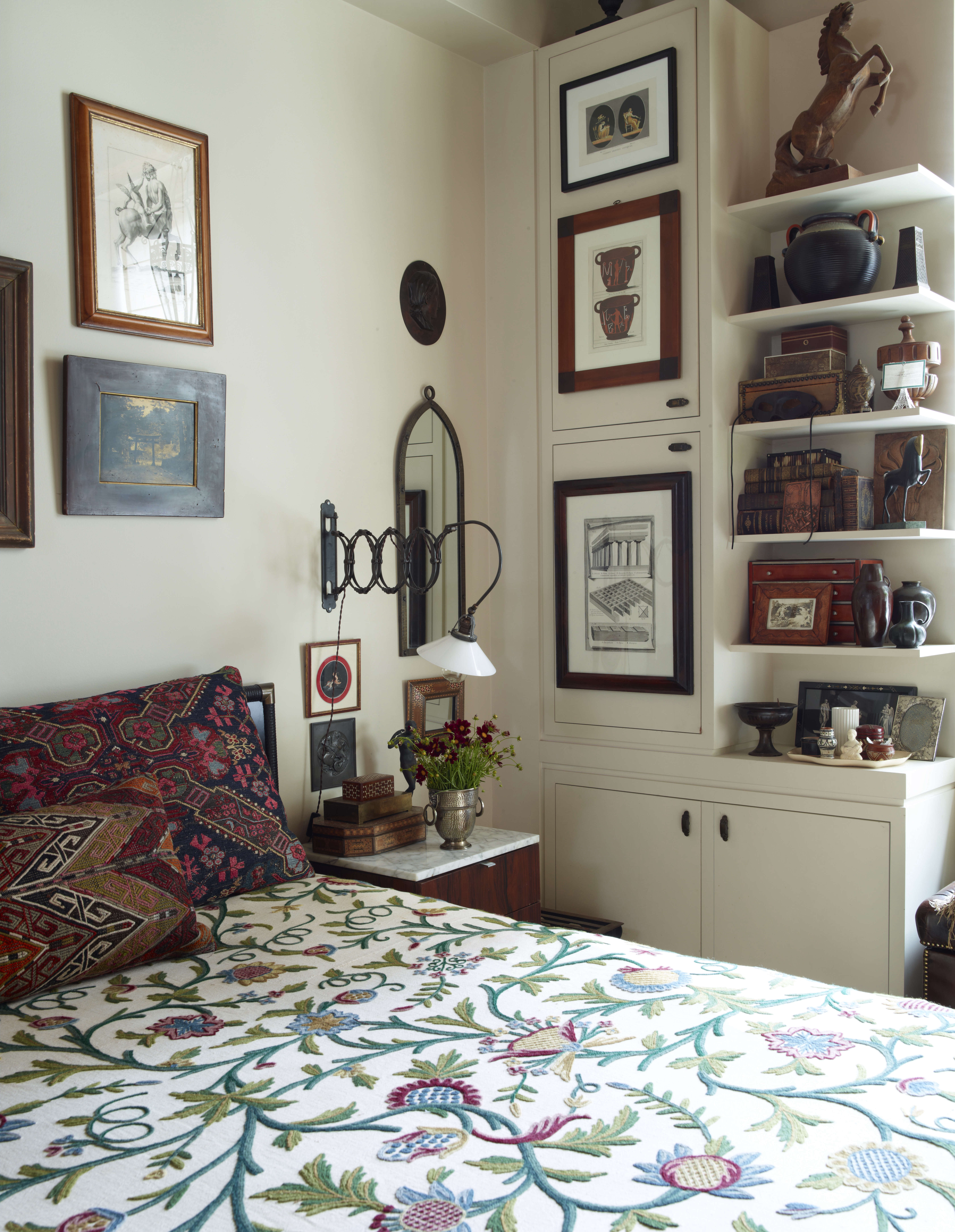 bedroom pattern print bedspread alexandra loew artwork walls eclectic 18
