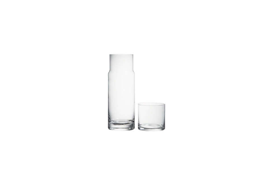 Steal This Look A Farmhouse Bedroom with Modern Furniture CB2 Cora Glass Water Carafe