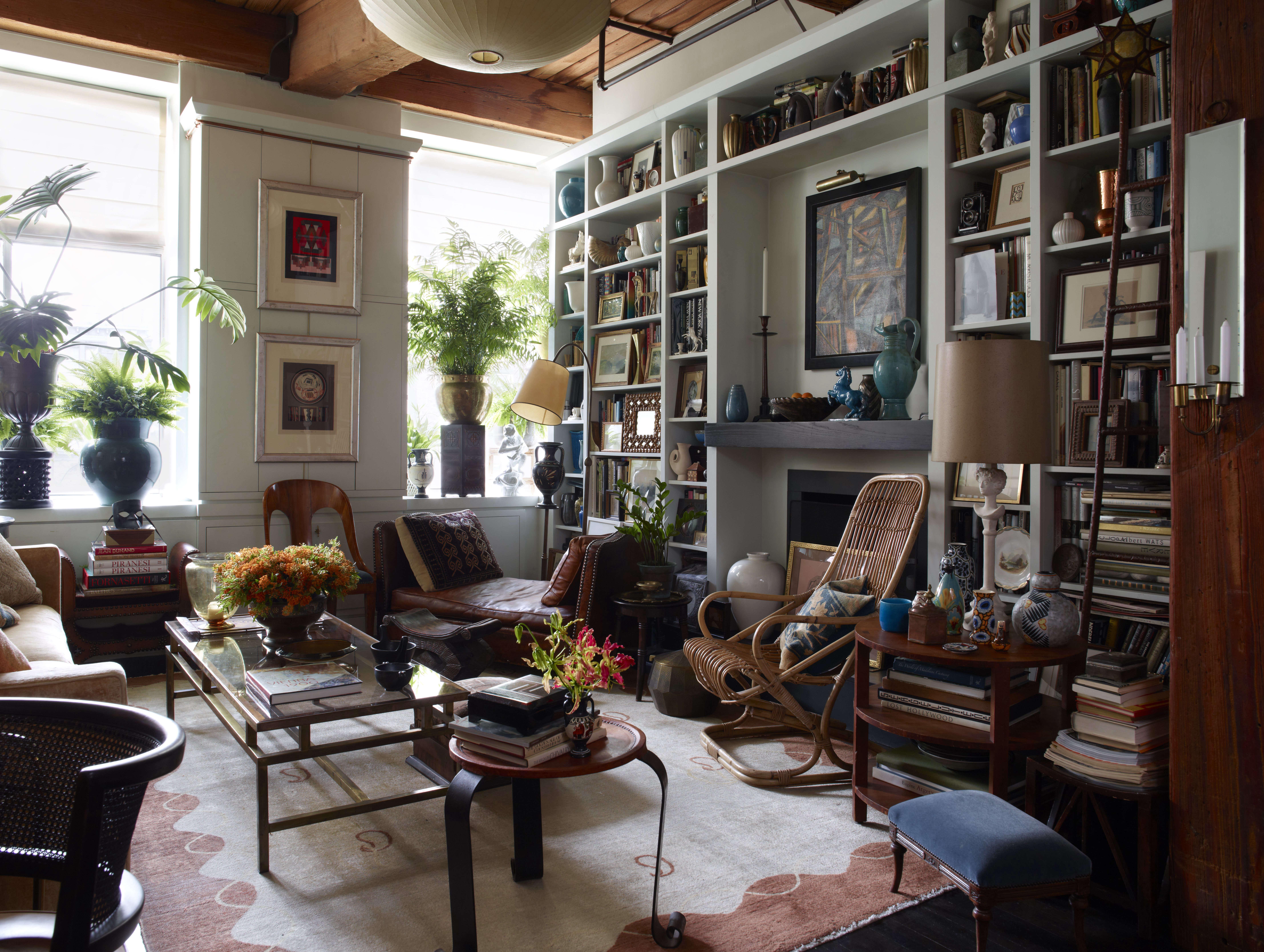 eclectic living room bookshelves artwork busy interior alexandra loew 13