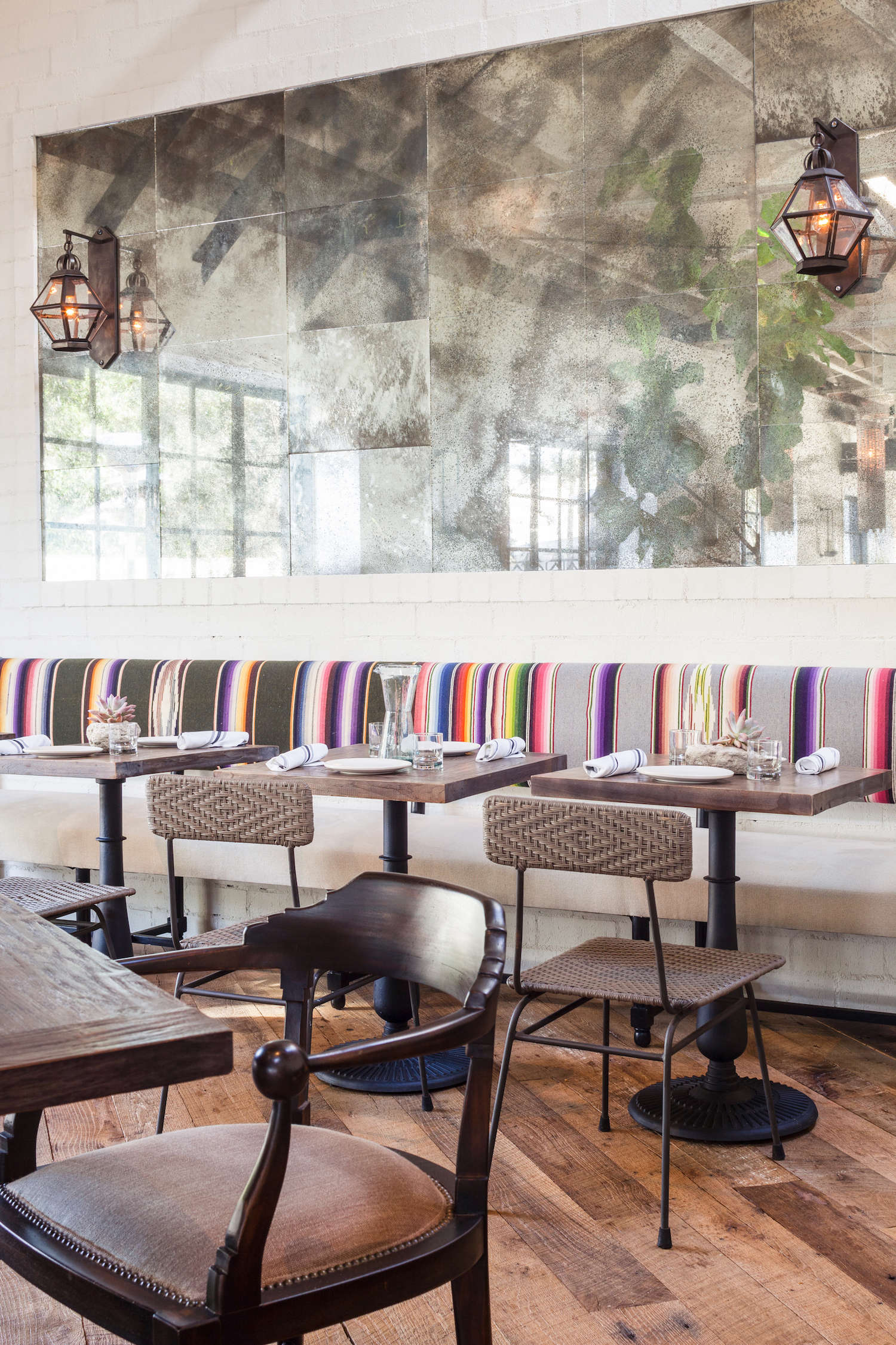 gracias-madre-restaurant-west-hollywood-la-stripes-banquette-antique-mirror