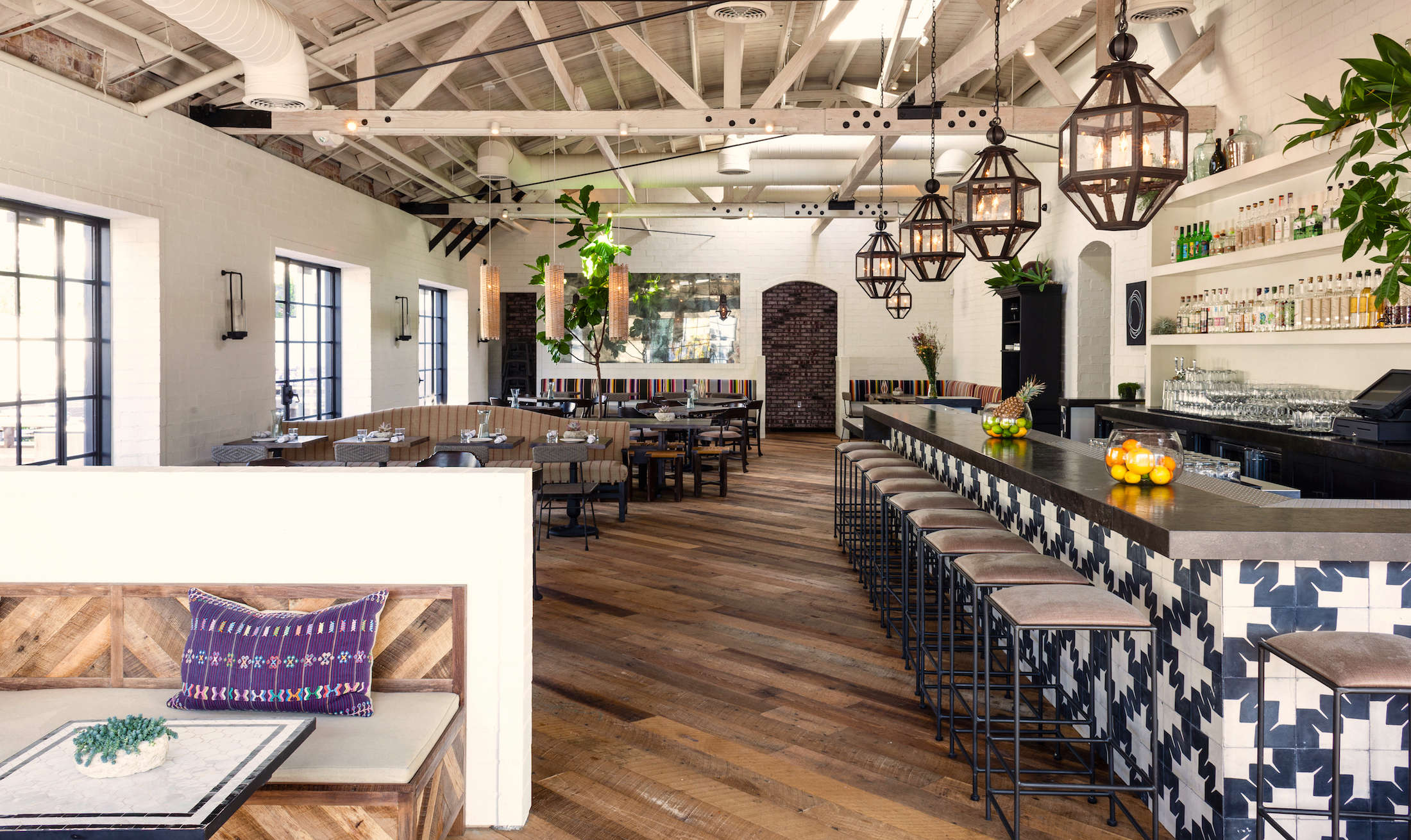 gracias-madre-restaurant-west-hollywood-la-wood-floors-painted-beams