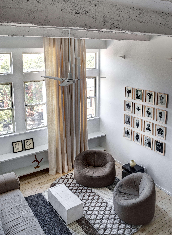 jennifer hanlin cobble hill apartment living room overhead, photo by bruce buck 14