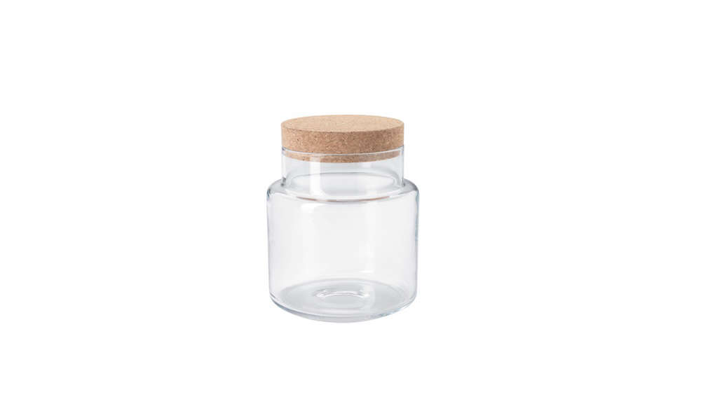 Meredith uses the Sinnerlig glass jar ($.99), an Ilse Crawford design, to store herbal teas.