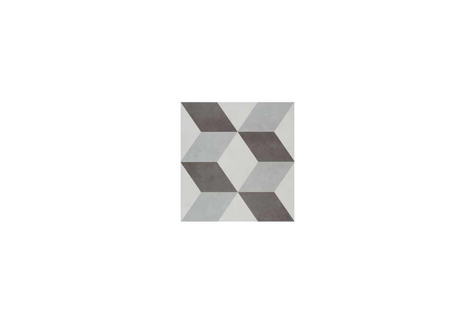 Steal This Look A CostConscious Retro Kitchen in London Illusion Feature Ceramic Grey Tile from Tons of Tiles