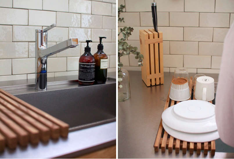 In a hardworking kitchen, Snedker recommends a long trough sink with a teak dish drainer.