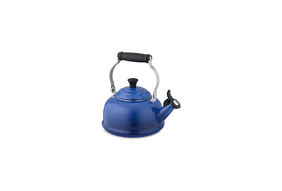 Steal This Look A CostConscious Retro Kitchen in London Le Creuset Classic Tea Kettle in Lapis