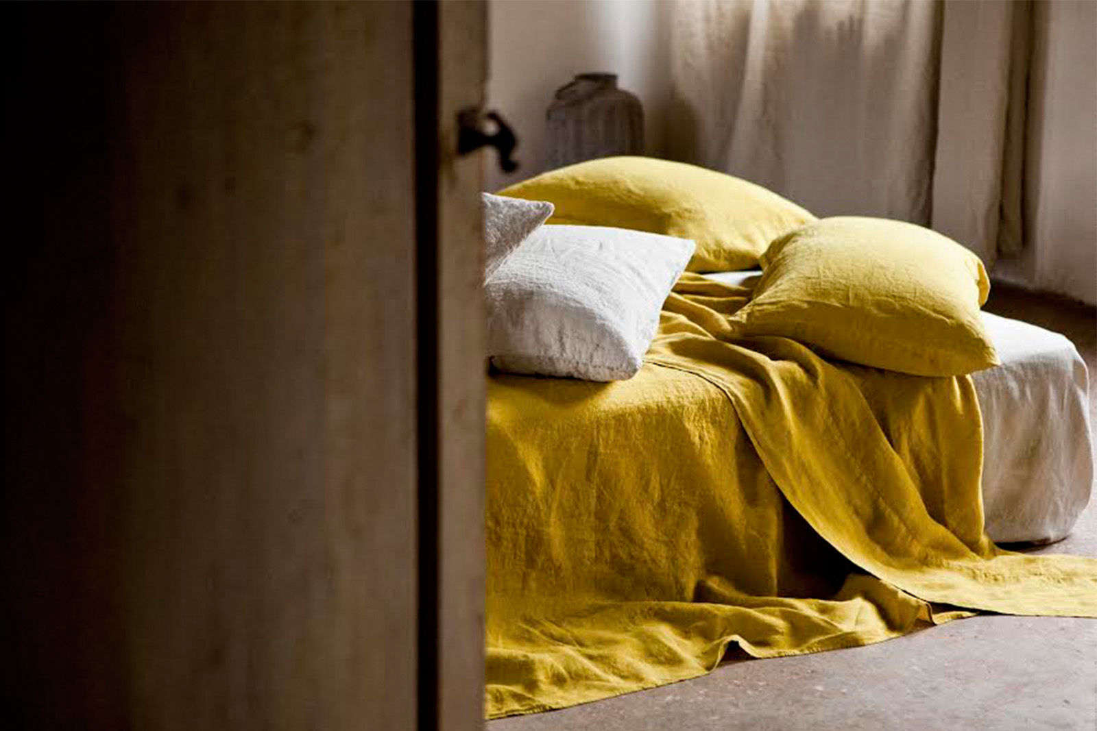 once-milano-yellow-linen-sheets