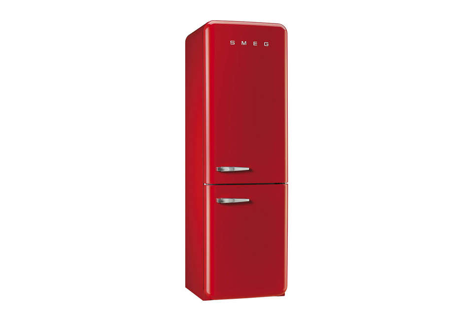 Steal This Look A CostConscious Retro Kitchen in London Smeg 50s Retro Bottom Freezer Refrigerator in Red