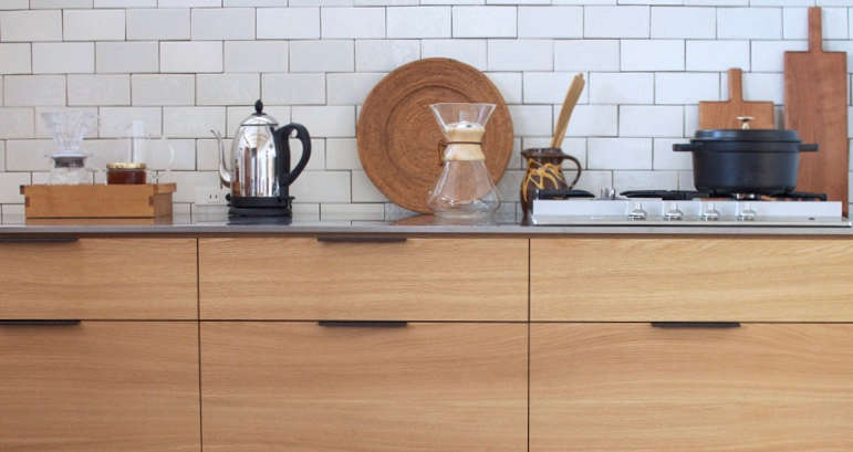 In addition to stainless steel, Snedker offers countertops in marble and solid wood. (They frequently work with oak, ash, walnut, paulownia, and black cherry.)