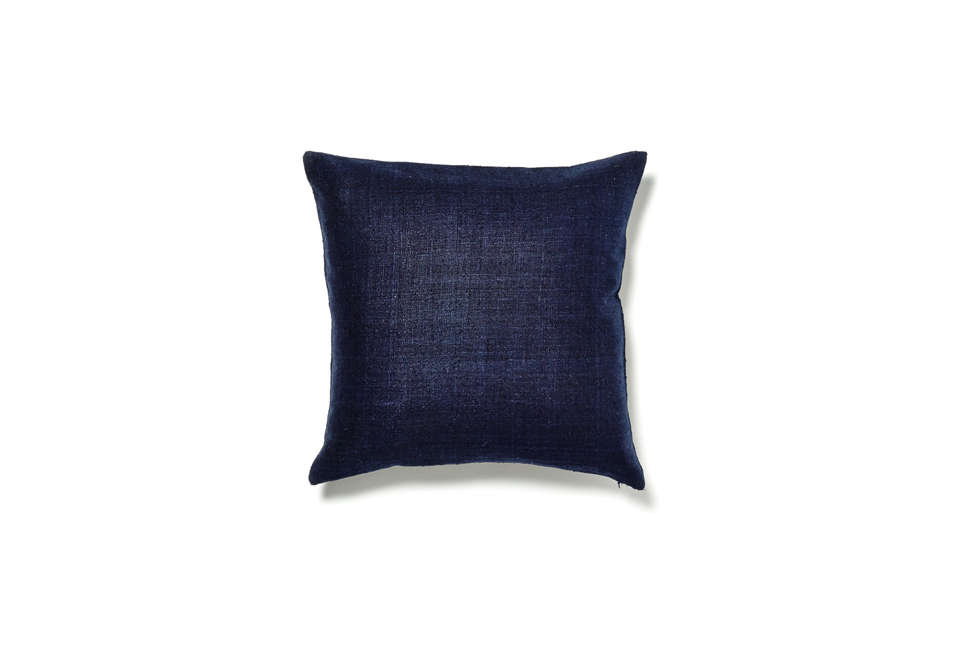 The Varanasi Indigo Raw Silk Pillow is made in India in a deep indigo blue; $48 at ABC Carpet & Home.