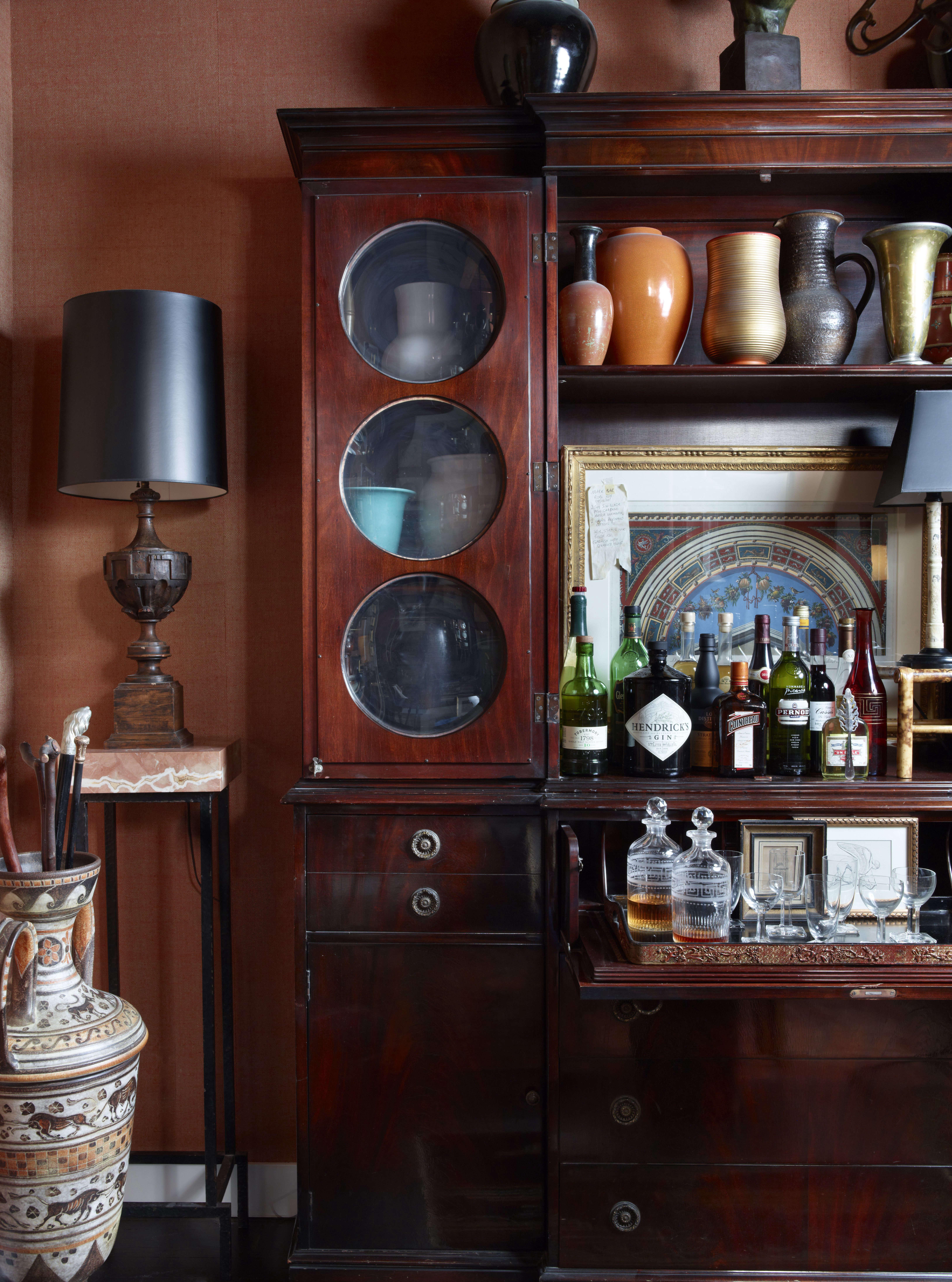 wet bar cabinet coral walls alexandra loew interior design 11