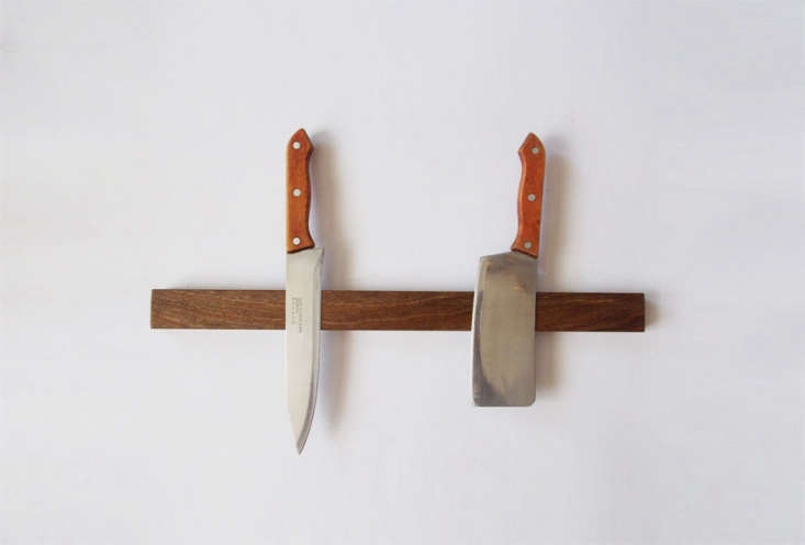 the magnetic knife holder in walnut starts at \$48 from workshop krona, a selle 14