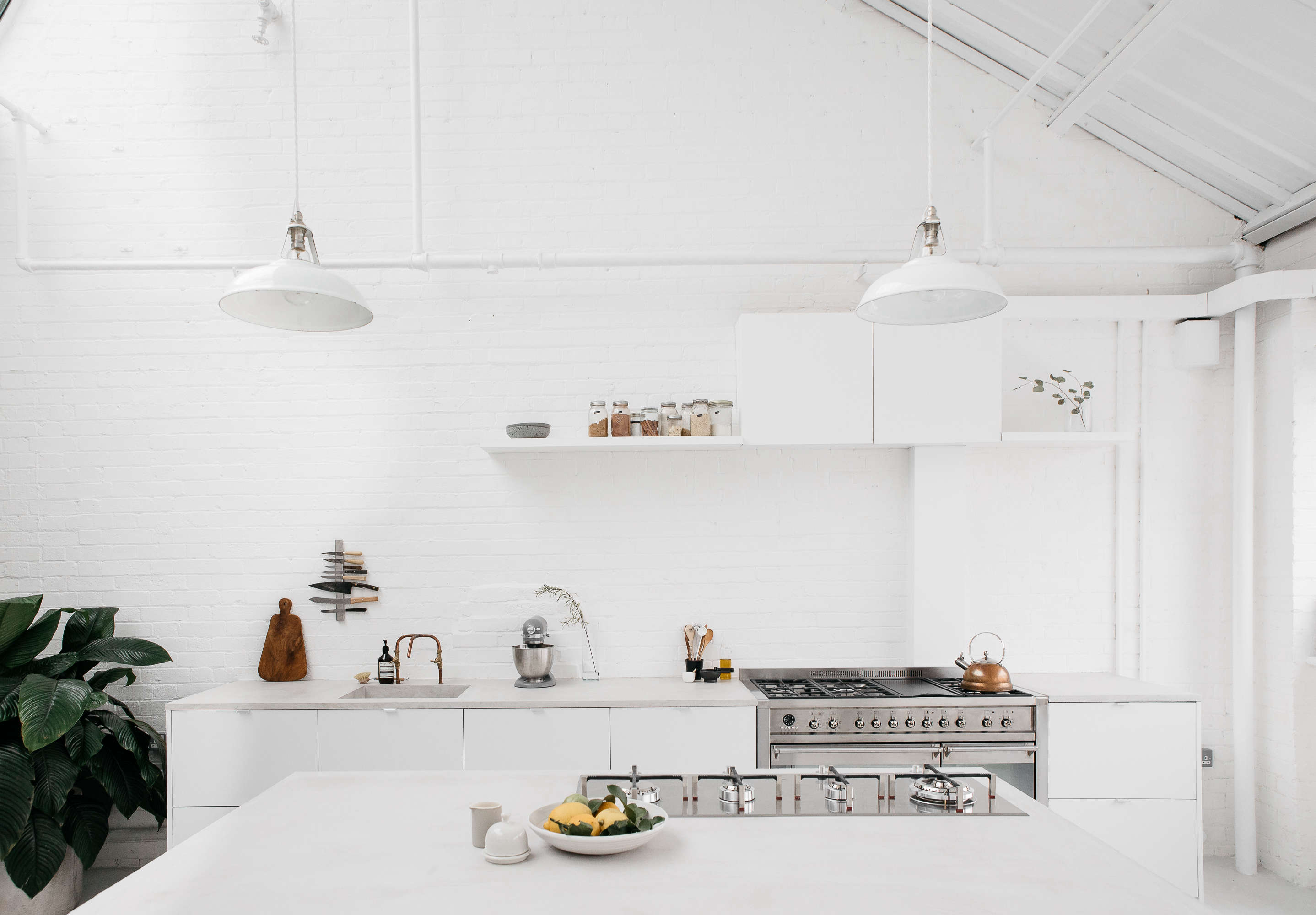 An overview of the serene, bright white kitchen. For more, see our postKitchen of the Week: An Artful Ikea Hack Kitchen by Two London Foodies.