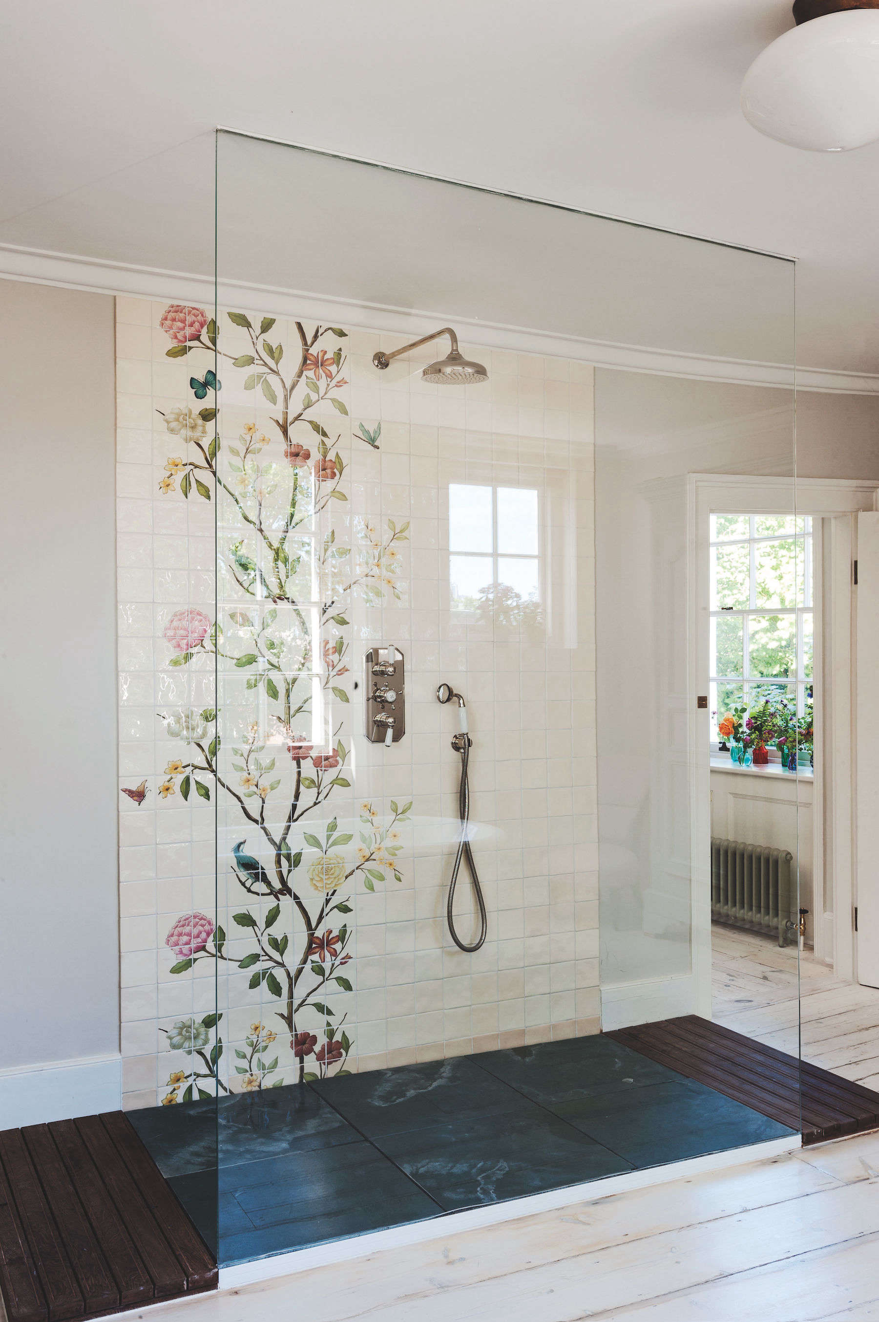 Bathroom of the Week A Romantic London Bath Made from Vintage Parts chinoiserie tile shower glass door michelle mckenna uk