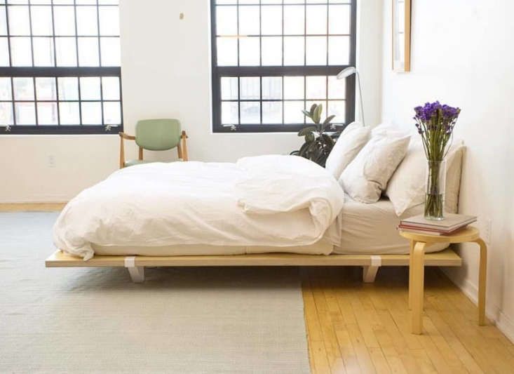 the kickstarter funded floyd bed frame consists of three parts: birch veneer wo 9