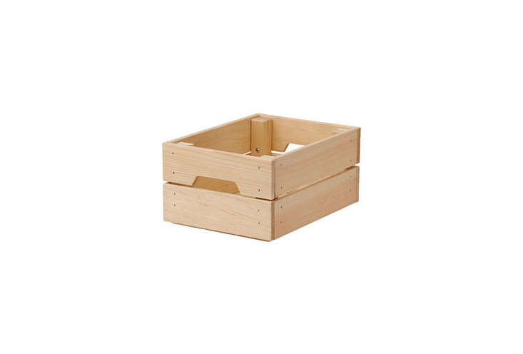 Ikea's Knagglig Wood Box Crate in pine is $4.99 for the smallest size.
