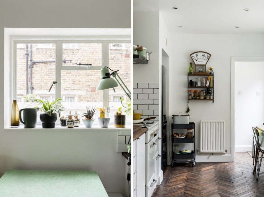 Above, L to R: The kitchen window overlooks a Victorian terrace,which is smartly decorated with a Dutch biergarten table and a white brick wall clad in ivy and grapevine. The string shelving was purchased from the Golborne Road flea market, and the vintage ammeter from the clearance sale of a local school.