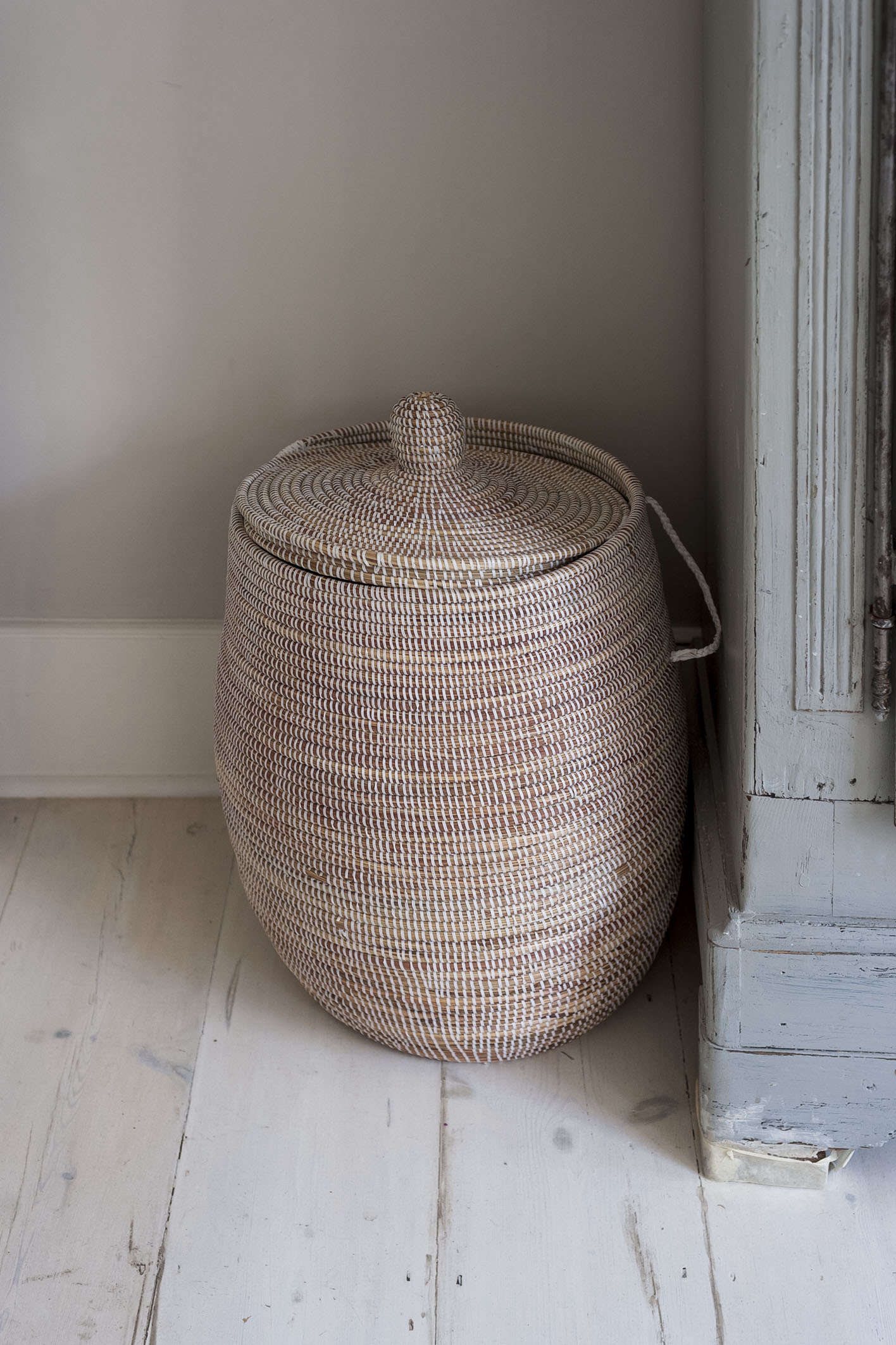 Bathroom of the Week A Romantic London Bath Made from Vintage Parts laundry basket lid corner whitewashed floor