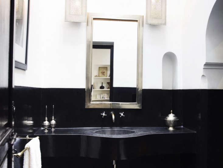 lhotel marrakech jasper conran black bathroom silver mirror