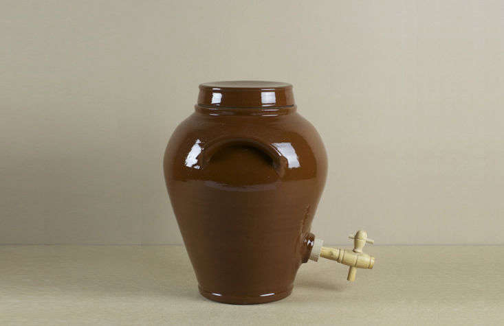From Poterie Renault near Orléans, a Stoneware Vinegar Pot—for making wine vinegar from wine bottle leftovers—is £70 at Objects of Use in Oxford, England.