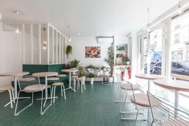 interior of peonies flowers and coffee in paris 9