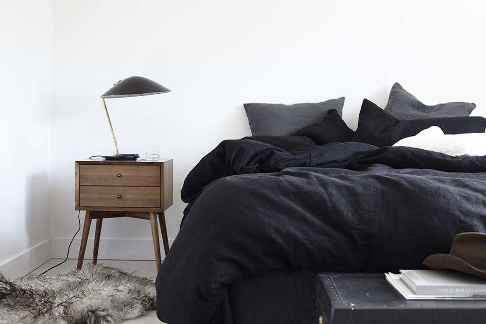 rough linen black linen bed 10