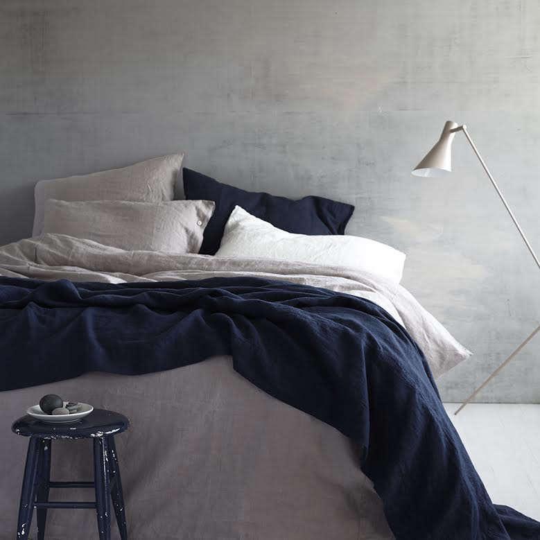 rough linen navy pink linen bedding 14