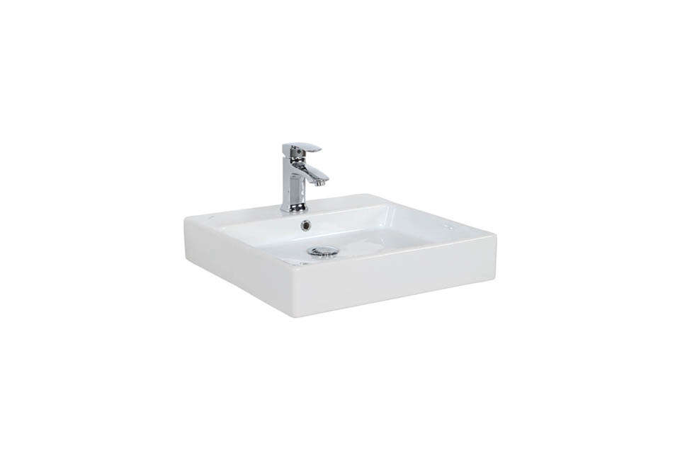 Simple Wall-Mounted Vessel Bathroom Sink