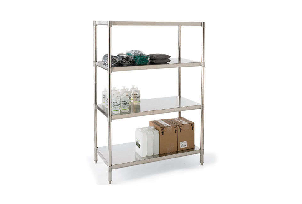 Another industrial stainless steel shelf option is the Vestil Stainless Steel Shelving Unit for $loading=