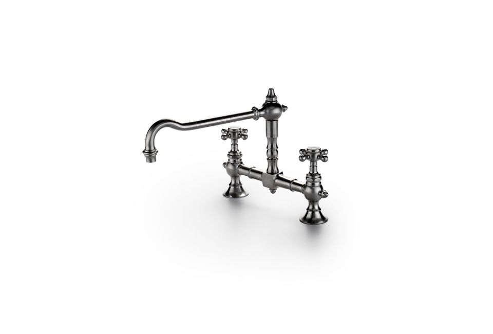 The Waterworks Julia Two-Hole Bridge Faucet is a re-creation of a s French country faucet; $