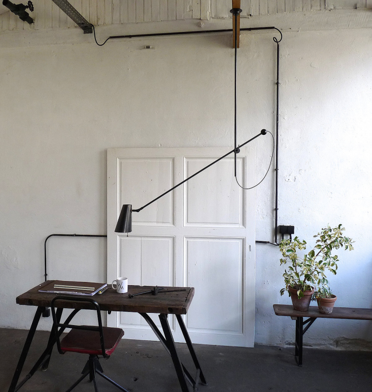 Ideal for workspaces, the Adjustable One Arm Chandelier can be levered according to lighting needs; €549 ($583).