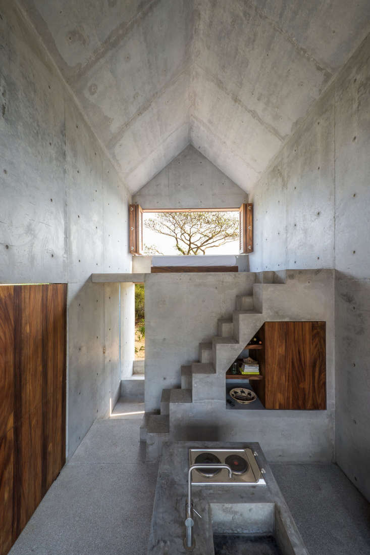 An integrated concrete sink in the mostly concrete Casa Tiny, a Walden-Inspired Getaway in Mexico.