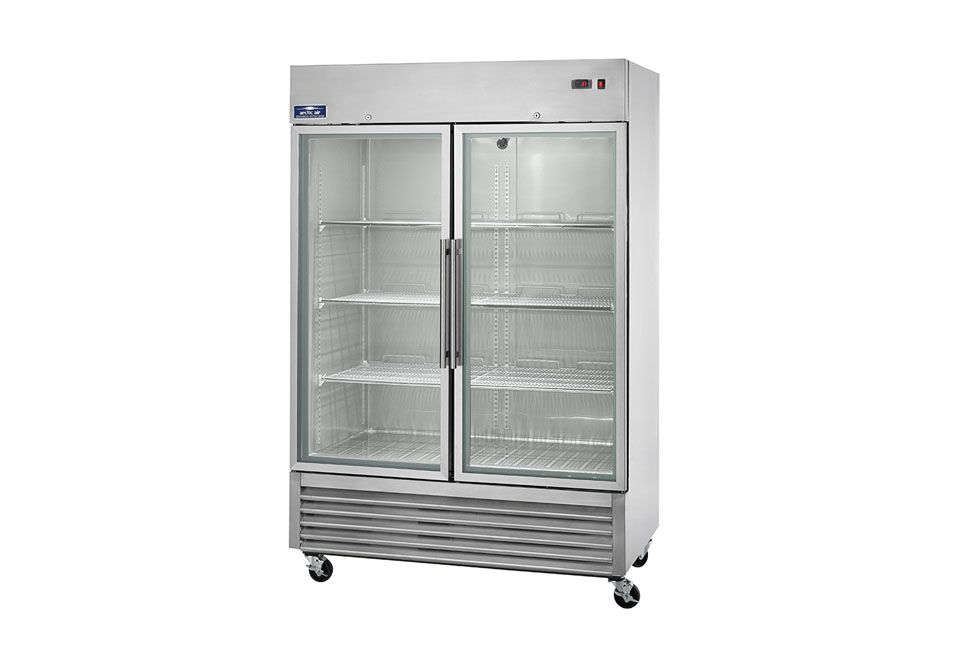 The Arctic Air Two-Section Reach-In Refrigerator Glass Doors is $