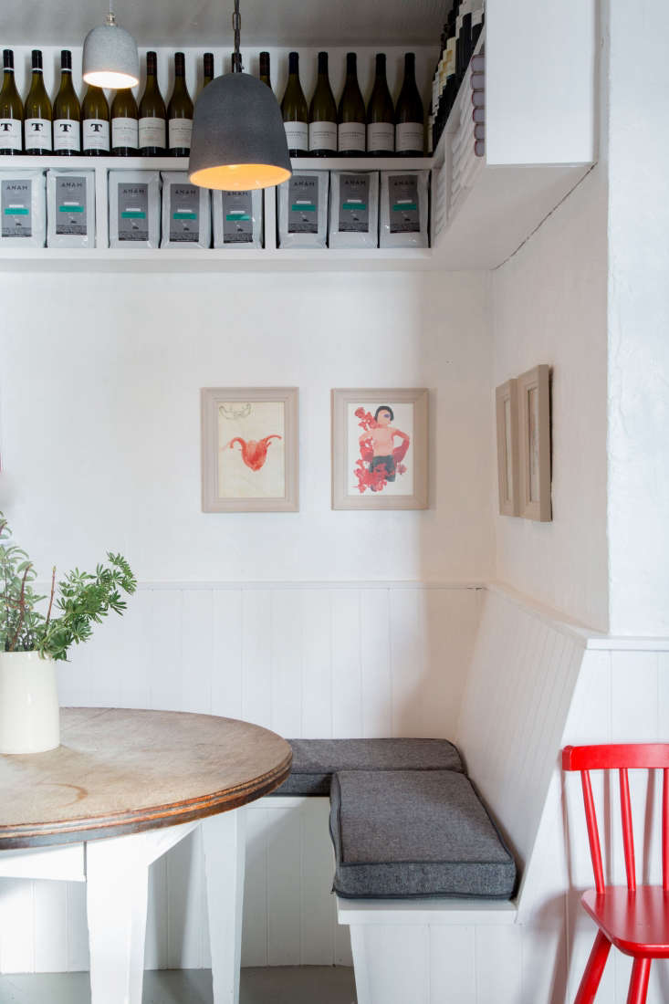 a bright banquette in one corner of the restaurant. 14