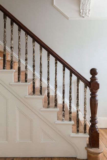 restored wood stair, artist alex chinneck's remodeled london victorian 16