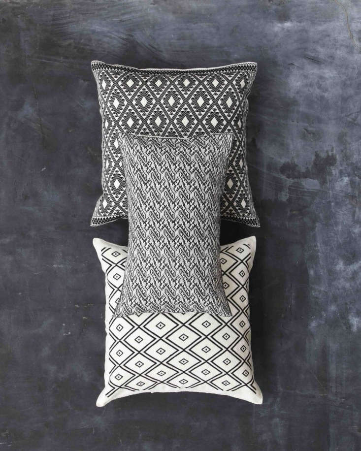 The pillows from the Balamil Collection incorporate Mayan patterns and symbols that tell traditional stories. (&#8