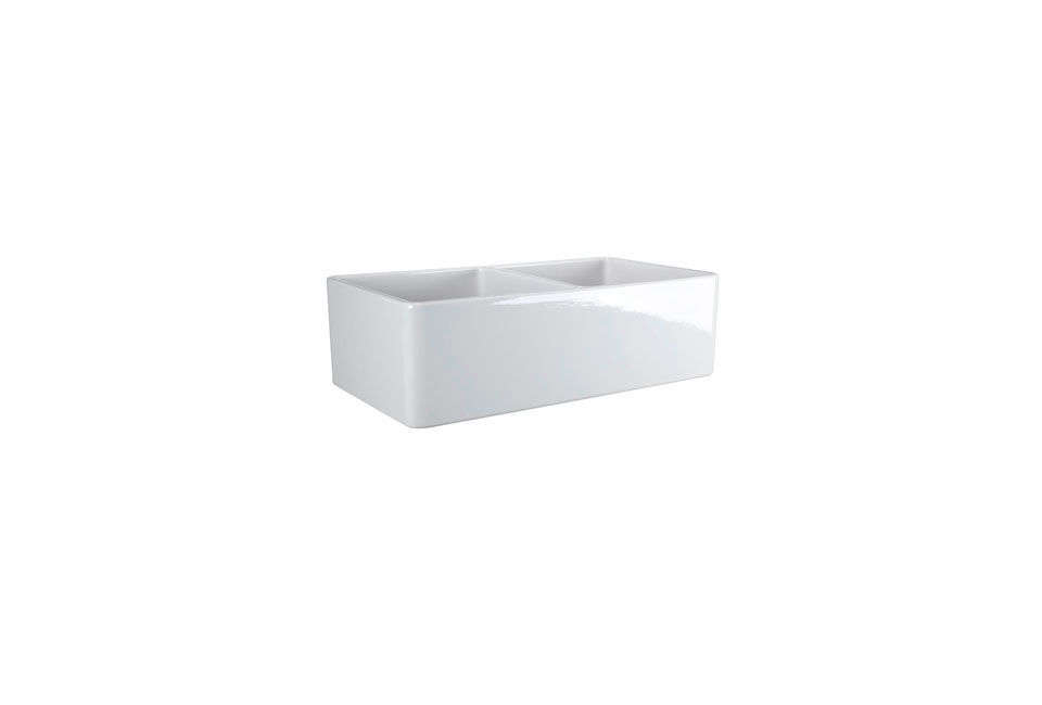 The Barclay Langley Double Bowl Farmer Sink measures 33 inches long; $loading=