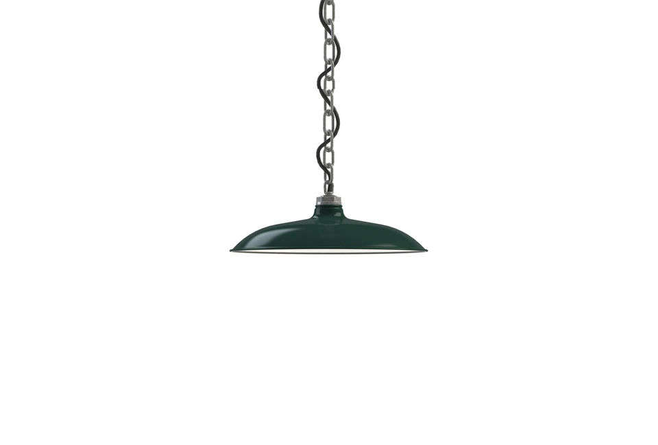 The Barn Light Electric Skylark Shallow Bowl Pendant, shown in green, is $5. Another factory light in green is the Houston Street SoHo Pendant for $3, also at Barn Light Electric.