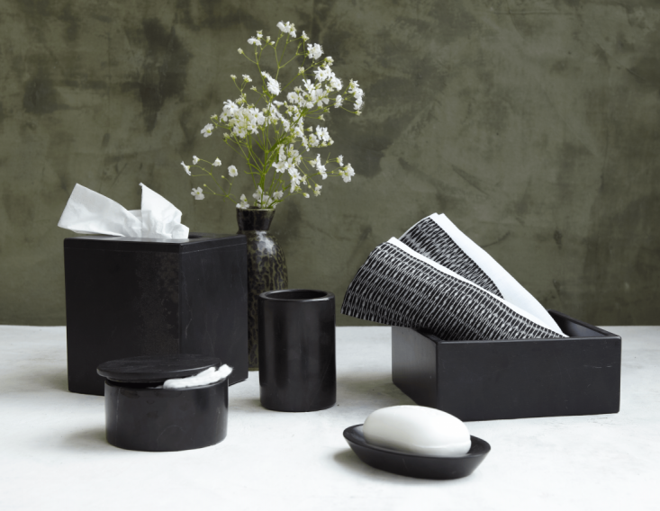 A moody black marble Bathroom Kitfrom the Puebla area of Mexico includes a soap dish and tissue box cover.