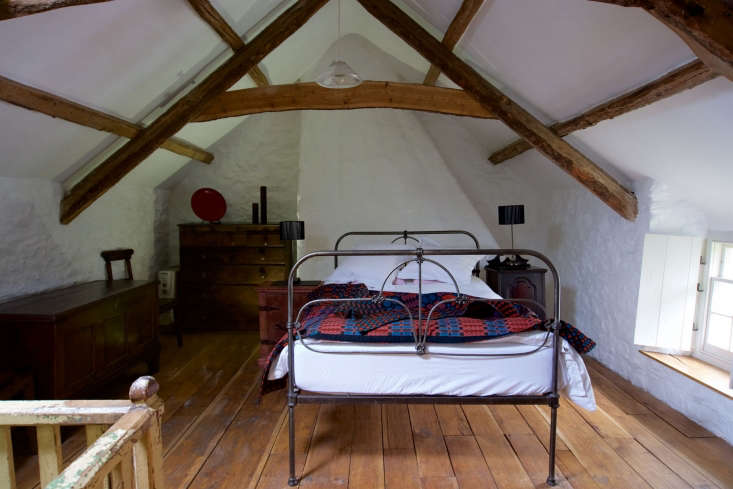 in the mainbedroom, a simple iron bed and a few choice pieces of welsh furnit 18