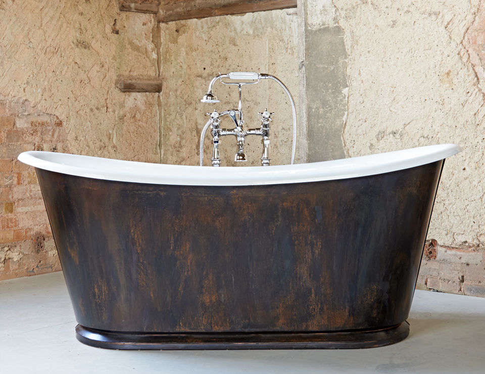 the burnished copper usk bathtub is based on a classic \18th century bateau bat 14