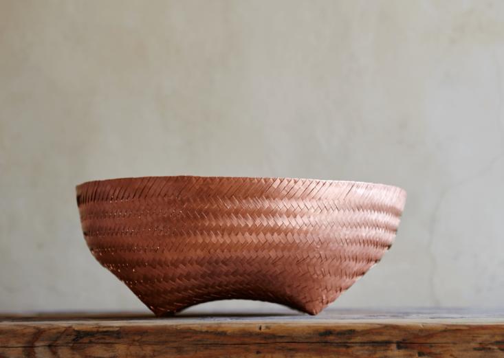 A Copper Basket is handwoven with strips of copper by artisans inHuajapan de León, Oaxaca.