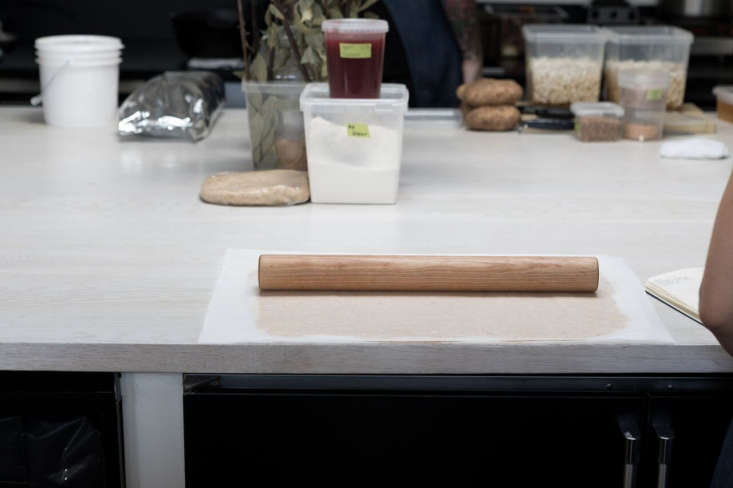 the center island countertops are bleached white oak. 19
