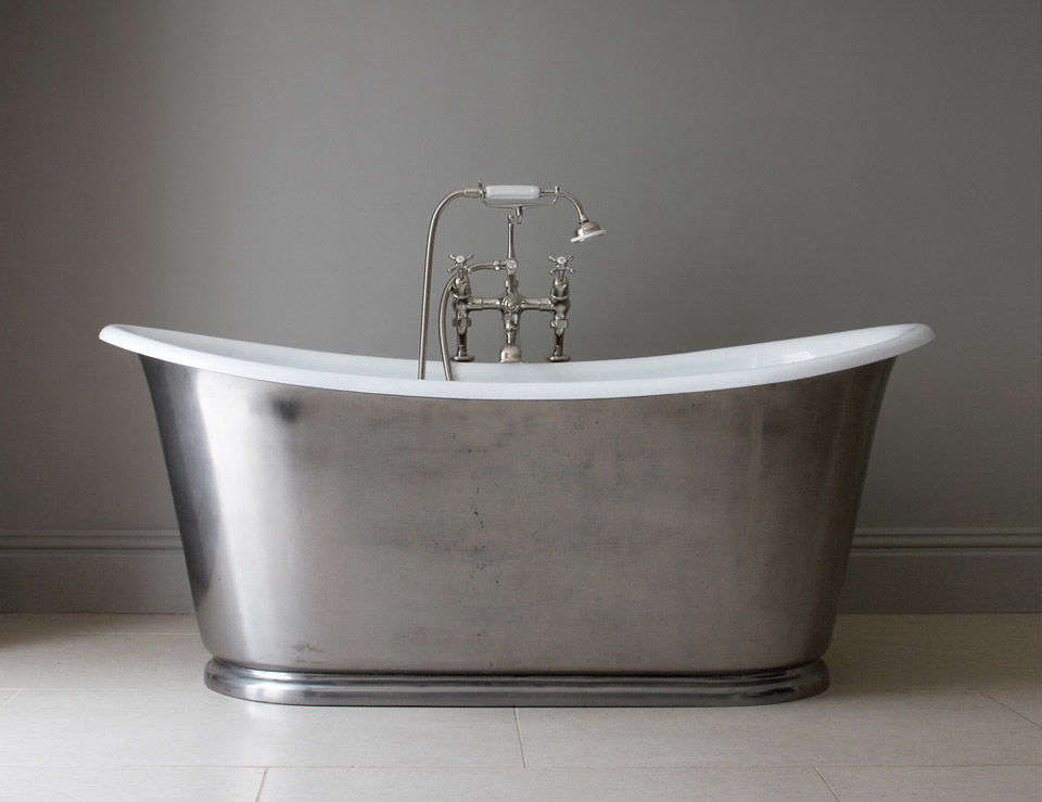 10 Easy Pieces Silver Finish Freestanding Bathtubs TheUsk Bathtub from Drummonds is available in raw cast iron, primed, painted, or, as seen here, polished; \$8,950 from Drummonds.