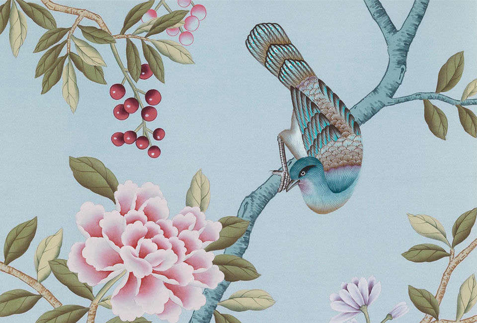 Michelle first spotted the chinoiserie pattern seen in the kitchen on a greeting card and found it was from British company Fromental. Contact Fromental for Chinoiserie Wallpaper pricing, information, and the different colors available (seen here is Blue Light).
