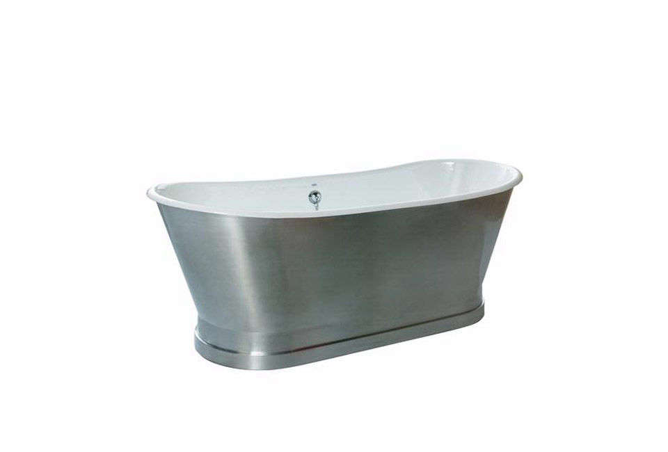 10 Easy Pieces Silver Finish Freestanding Bathtubs The Balmoral Cast Iron Freestanding Bathtub from Cheviot is available in a variety of metallic finishes (shown in brushed stainless steel). Contact Home & Stone for pricing.